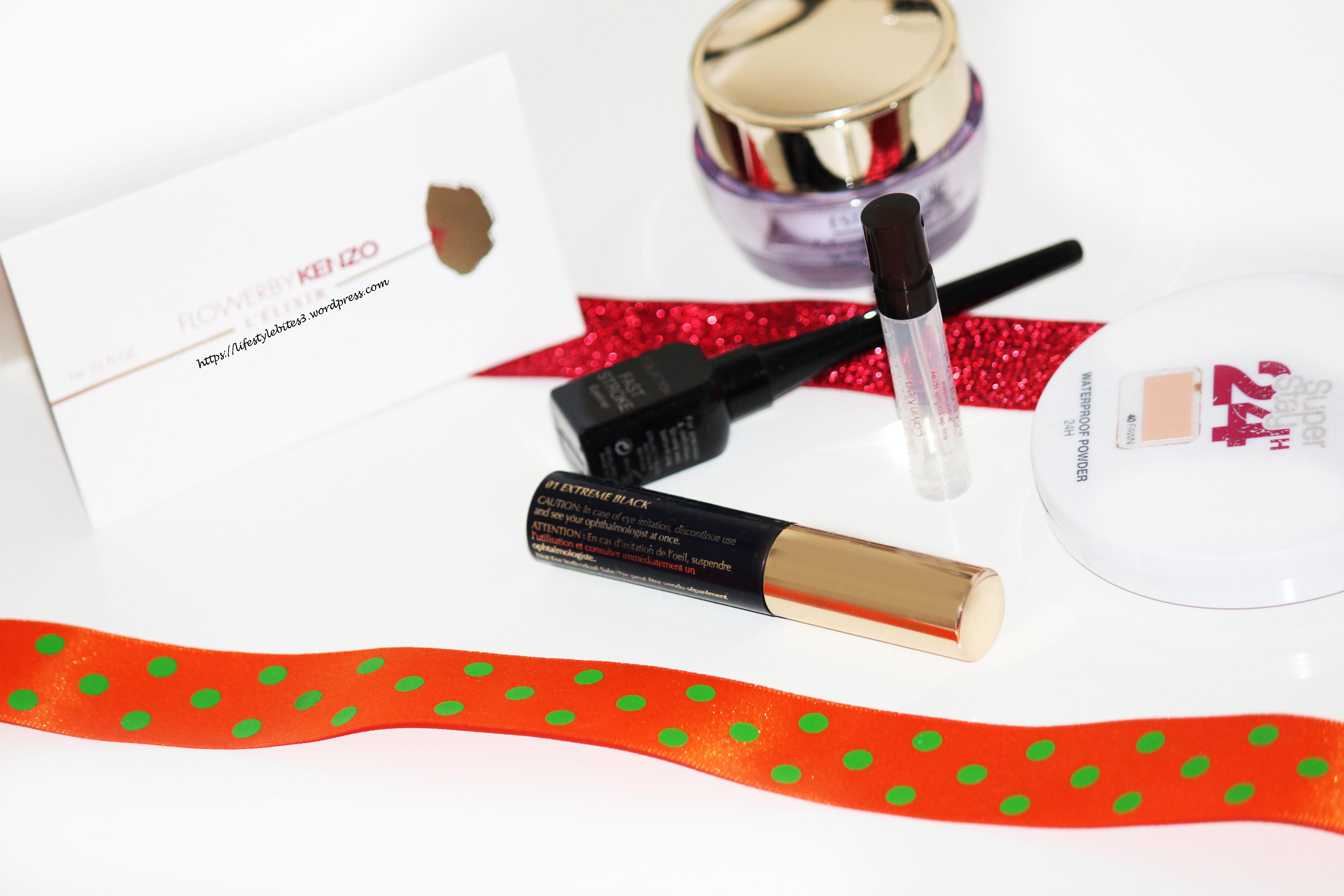 Calvin Klein, Estee Lauder, euphoria perfume, mascara, flower by keno, anti wrinkle cream advanced time zone, MUA, collection cosmetics